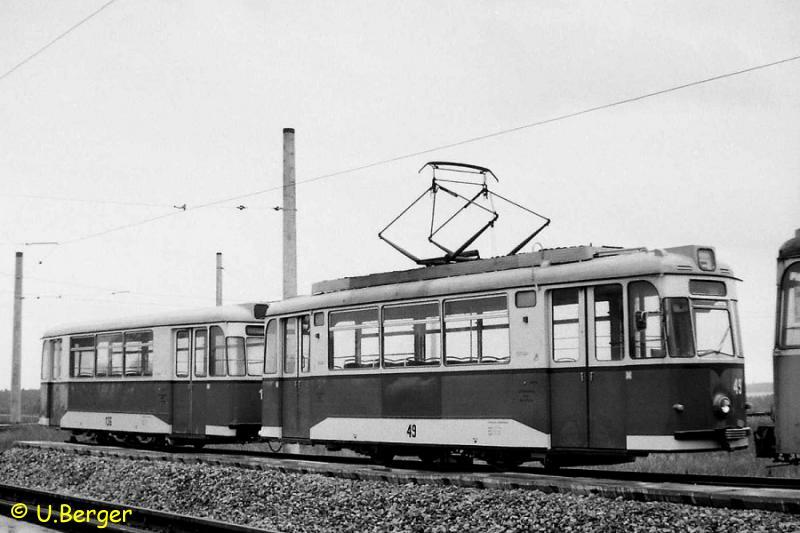 Triebwagen 49 als Linienfahrzeug 1989 in Markendorf
