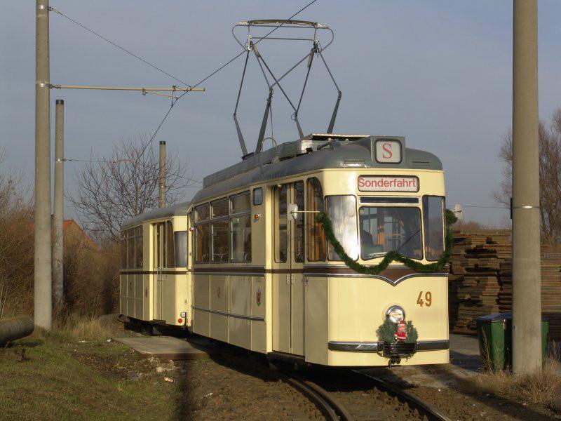 Historischer Gotha-Zug in der Schleife Lebuser Vorstadt