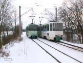 Zugbegegnung im Schnee
